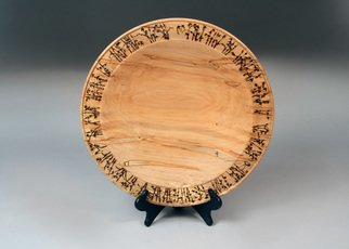 Jerry Cox: 'bamboo plate', 2019 Wood Sculpture, Birds. Artist Description: Pyro engraved Ambrosia maple, touches of acrylic paint...