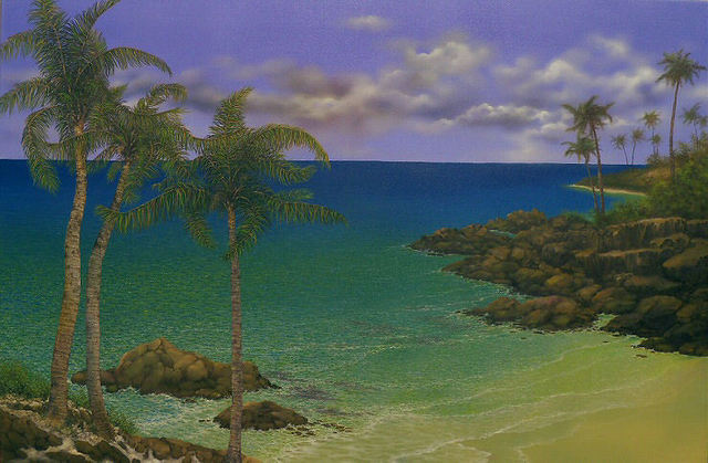 Jerry Sauls  'Along The Rocky Coast', created in 2011, Original Painting Oil.