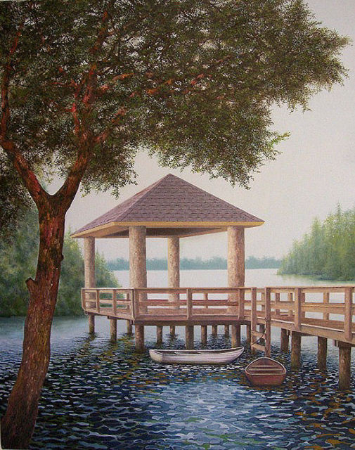 Jerry Sauls  'Riverfront Retreat', created in 2008, Original Painting Oil.