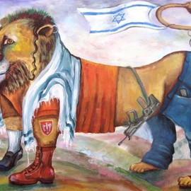 Elisheva Nesis: 'AM ISRAEL HAY', 2010 Acrylic Painting, Judaic. Artist Description:  This lion - an allegorical symbol of Israel Jews. All sorts of them, despite religious, political, social and other differences. ...