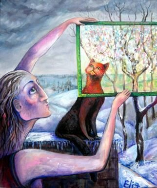 Cats Acrylic Painting by Elisheva Nesis Title: THE ANGEL OF FEBRUARY, created in 2009