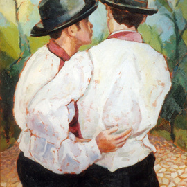 Jessica Dunn: 'Amigos', 1998 Oil Painting, Portrait. Artist Description: I tried to capture this moment of intimacy between two friends....