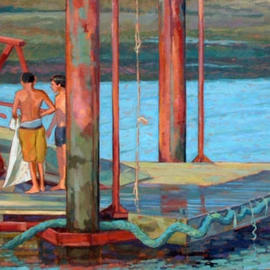 Jessica Dunn: 'Bathers on a Jetty 1', 2003 Oil Painting, Figurative. Artist Description: This painting was exhibited at the Florence Biennale in December 2003....