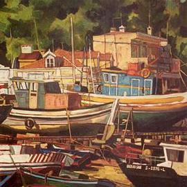 Jessica Dunn: 'Beleza do Sado', 1999 Oil Painting, Figurative. Artist Description: Boatyard at Setubal ( Portugal)SOLD...
