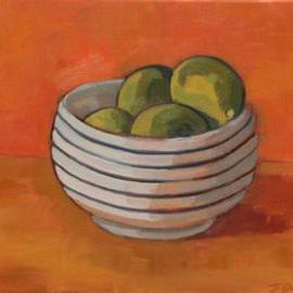 Jessica Dunn: 'Bowl of Limes', 2001 Oil Painting, Still Life.