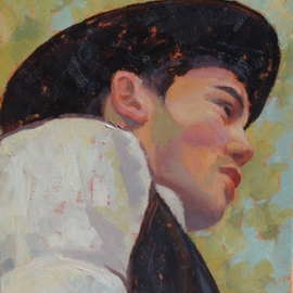 Jessica Dunn: 'Boy with Black Hat', 2003 Oil Painting, Portrait.