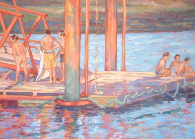 Artist Jessica Dunn. 'Boys On A Jetty ' Artwork Image, Created in 2003, Original Ceramics Other. #art #artist