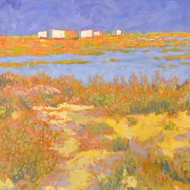 Jessica Dunn: 'Cabanas I', 2011 Oil Painting, Figurative. Artist Description:   Ria Formosa nature reserve   ...