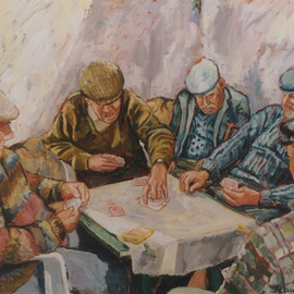 Jessica Dunn: 'Card Players', 2000 Oil Painting, Portrait. Artist Description: These men regularly played cards at this spot, which was outside, but sheltered from the wind. I went to see it recently. Sadly it had been demolished.    ( sold) ...