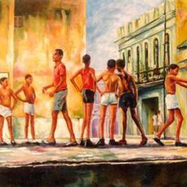 Jessica Dunn Artwork Chicos Cubanos, 1995 Oil Painting, Urban