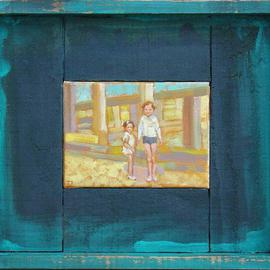Jessica Dunn: 'Cousins', 2005 Oil Painting, Children. Artist Description: Dimensions: 13 x 18 cm - ( framed: 33 x 38 cm)...