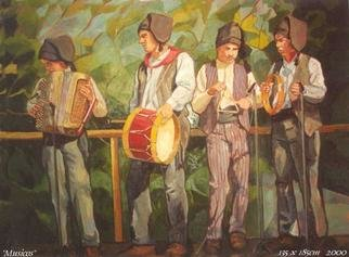 Jessica Dunn: 'Musicos', 2000 Oil Painting, Portrait. Large oil painting depicting young musicians at a folklore festival at the village of Alte ( Algarve, Portugal) on May 1st ( Labour Day) ....
