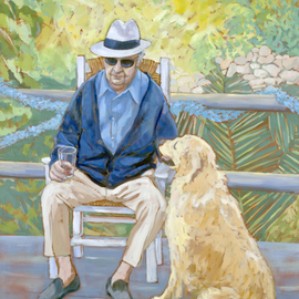 Jessica Dunn: 'Ninety', 2010 Oil Painting, Figurative. Artist Description:  Clive Dunn at ninety, oil painting. , man and faithful dog, golden retriever. ...