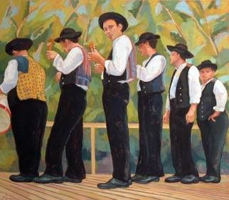 Jessica Dunn: 'Six Musicians', 2004 Oil Painting, Portrait.