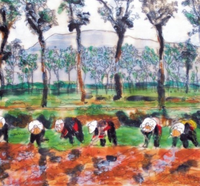 Jessie Fritsch  'Japan Rice Field', created in 2006, Original Painting Encaustic.