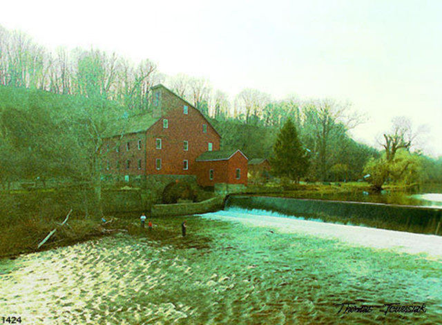 Thomas Jewusiak  'American Old Mill', created in 2007, Original Painting Oil.