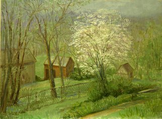 Judith Fritchman: 'April in Springtown', 2008 Oil Painting, Landscape.  An April day offering warm sunshine and flowering trees. ...