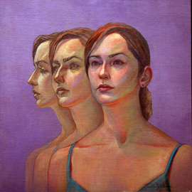 Judith Fritchman: 'Caryn 3', 2006 Oil Painting, Figurative. Artist Description:  Three views symbolize the possibilities which await this talented young woman. ...