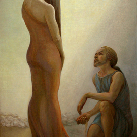 Judith Fritchman: 'Casting Stones', 2008 Oil Painting, Biblical. Artist Description: The story of the accused woman brought before the crowd in the temple is related in the 8th Chapter of the Gospel of John.  She is shown here standing in shame before the humble, kneeling Christ, who offered her compassion and redeeming grace. ...