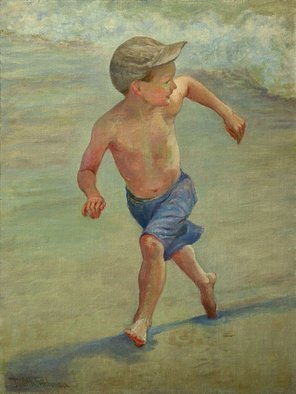 Judith Fritchman: 'Catch Me if You Can', 2007 Oil Painting, Children. Who can resist an exuberant race with the waves?...