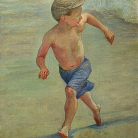Judith Fritchman: 'Catch Me if You Can', 2007 Oil Painting, Children. Artist Description: Who can resist an exuberant race with the waves?...