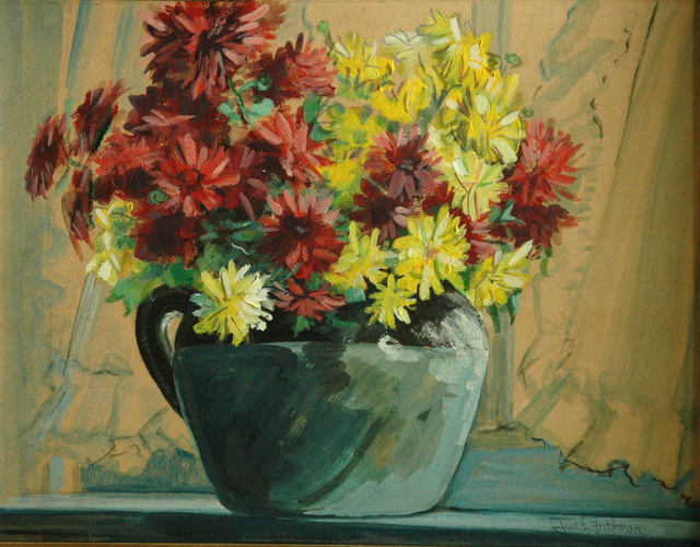 Artist Judith Fritchman. 'Chrysanthemums In The Window' Artwork Image, Created in 1971, Original Painting Acrylic. #art #artist