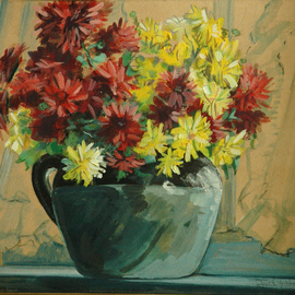 Judith Fritchman: 'Chrysanthemums in the Window', 1971 Other Painting, Still Life. Artist Description:  A crock of chrysanthemums on a sunny window sill. ...