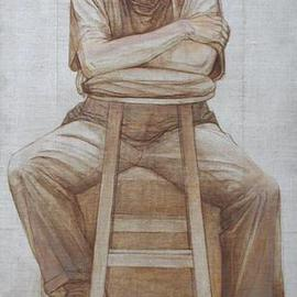 Judith Fritchman: 'Chuck', 1998 Other Painting, Figurative. Artist Description: Executed in Conte pencil, and sepia, black, and white oil paint on natural linen....