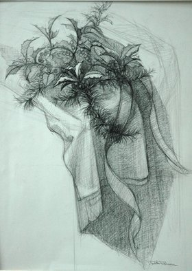 Still Life Pencil Drawing by Judith Fritchman Title: December Gift, created in 2003