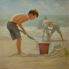 Judith Fritchman: 'Defending the Fort', 2009 Oil Painting, Children. Artist Description:  Young boys defend their fort from the incoming waves. ...