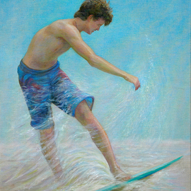 Judith Fritchman: 'Eighteenth Summer', 2011 Oil Painting, Figurative. Artist Description:   A long, golden afternoon at the beach for an eighteen year old. . . a perfect time to master the art of skimming in the surf.Oil on linen ...