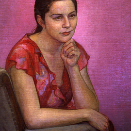Judith Fritchman: 'Emily in Red', 2002 Oil Painting, Portrait. Artist Description:  Emily had just graduated from college and was looking forward to a trip to Italy when I had the opportunity to paint her.  Her hopes and dreams shone brightly in her eyes. ...