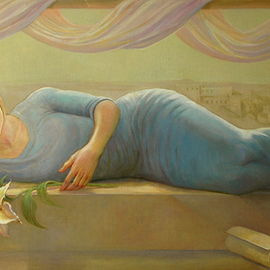 Judith Fritchman: 'Gabriels Gift', 2008 Oil Painting, Biblical. Artist Description:  The traditional image of Mary is often as a very young woman.  The theme of