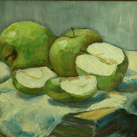 Judith Fritchman: 'Grannies', 1987 Oil Painting, Still Life. Artist Description:  Still life of Granny Smith apples. ...