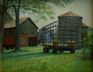 Judith Fritchman: 'Harvest Time', 2005 Oil Painting, Undecided.  Unloading the hay wagon in August. ...