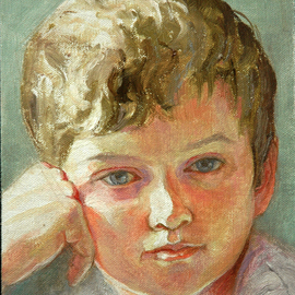 Judith Fritchman: 'Jacob', 2007 Oil Painting, Children. Artist Description:  Morning sunlight illuminates a young boy' s dreams. ...