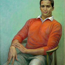 Judith Fritchman: 'Malik', 2006 Oil Painting, Portrait. Artist Description:  Malik is a tall, athletic young man who excels in many sports; remaining seated  for someone with such energy was a challenge!  It was great fun to try to capture his warm, engaging personality. ...