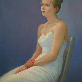 Judith Fritchman: 'Natalie', 2007 Oil Painting, Portrait. Artist Description:   Natalie's serene, classic beauty is a perfect match for a gown made for a princess.  ...