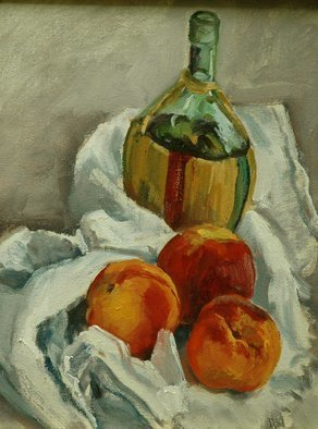 Judith Fritchman Artwork Peaches and Chianti, 1987 Oil Painting, Still Life