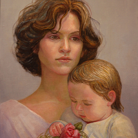 Judith Fritchman: 'Ponderings', 2010 Oil Painting, Biblical. Artist Description: LUKE 219  But Mary kept all these things and pondered them in her heart.  Mothers have always had hopes, dreams, and sometimes fears for their children Mary certainly had cause to ponder about her extraordinary child. Here she is pictured, cradling her infant son, Jesus. He holds in ...