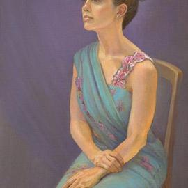 Judith Fritchman: 'Preeya', 2004 Oil Painting, Portrait. Artist Description: It was a joy to paint this beautiful young woman in her traditional sari....