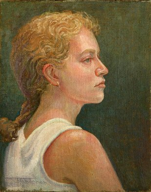 Judith Fritchman: 'Profile of Rebecca', 2004 Oil Painting, Portrait.  Another view of a lovely young woman. ...