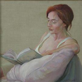 Judith Fritchman: 'Quiet  Journey', 2002 Oil Painting, Portrait. Artist Description: Fran, a wonderful model and friend, has often posed for me in a variety of compositions. One morning she brought along a book which had been captivating her so much that we decided to include it in the pose.  In order to see her expressive face, I sat ...