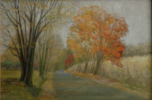 Judith Fritchman  'Road Home In Autumn', created in 2004, Original Painting Acrylic.