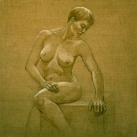 Judith Fritchman: 'Seated Nude I', 2009 Other Painting, Nudes. Artist Description:  Pencil and oil paint on natural linen. ...