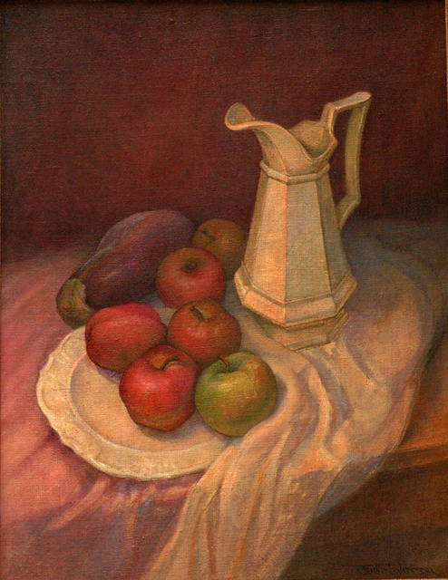 Artist Judith Fritchman. 'Still Life With Apples And Eggplant' Artwork Image, Created in 1999, Original Painting Acrylic. #art #artist
