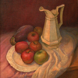Judith Fritchman: 'Still Life with Apples and Eggplant', 1999 Oil Painting, Still Life. Artist Description:  A green apple takes center stage against a background of reds and violets. ...