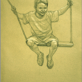 Judith Fritchman: 'Swing I', 2007 Pencil Drawing, Children. Artist Description:  Black and white Conte pencil on tan paper. ...