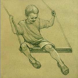 Judith Fritchman: 'Swing III', 2007 Pencil Drawing, Children. Artist Description:  Black and white Conte pencil on tan paper.  Third in Swing Series triptych. ...