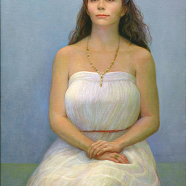 Judith Fritchman: 'Threshold', 2011 Oil Painting, Portrait. Artist Description:   A lovely young woman poised at the threshold. . .  ...